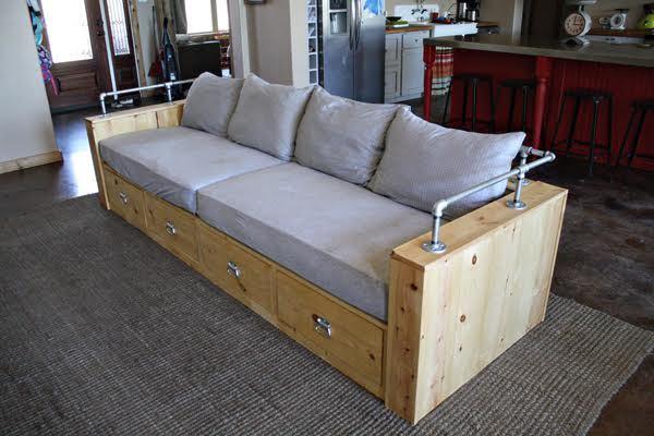 Ana White  Modern Wood Storage Sofa  Diy Projects