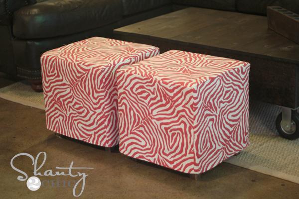 upholstered cubes ana white