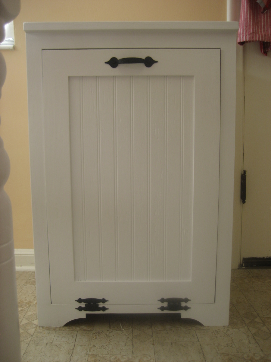 white kitchen trash can green chairs wooden storage for garbage pdf woodworking