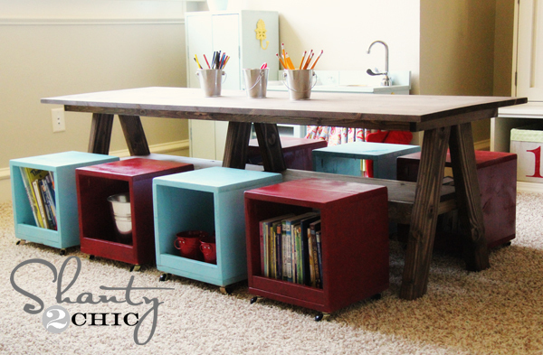 Double Trestle Play Table