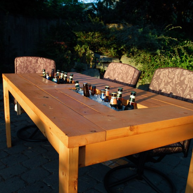 DIY Patio Table with Built in Cooler