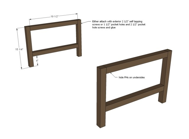start by building the two ends leg sets you can use pocket hole screws