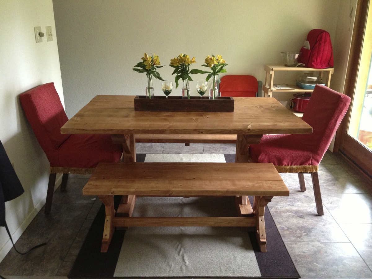 Fancy X Farmhouse Table And Benches - DIY Projects
