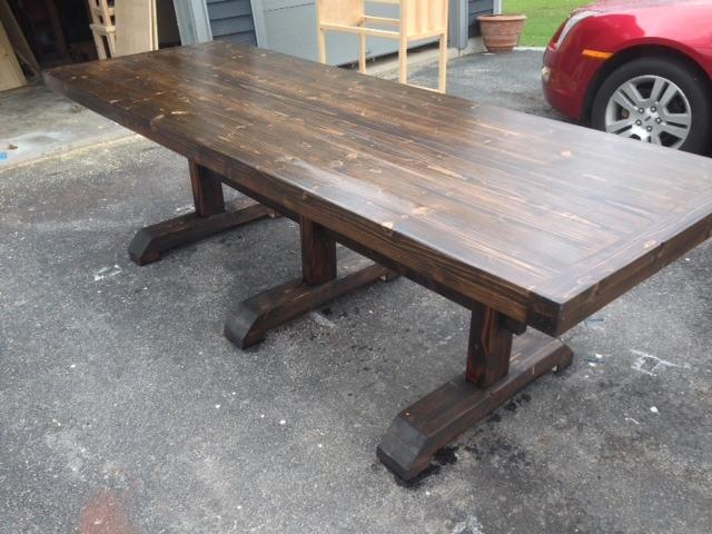 Triple Pedestal Trestle Dining Table - DIY