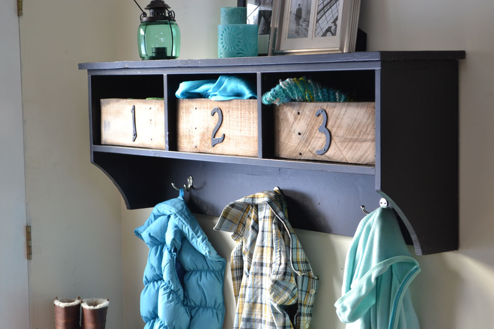 entryway bench and storage shelf with