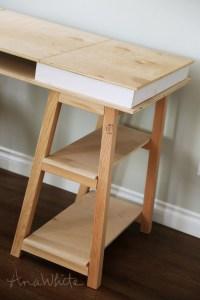 Ana White   Sawhorse Storage Leg Desk - DIY Projects