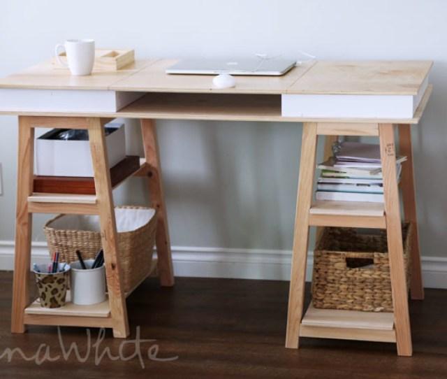 Build Your Own Sawhorse Storage Leg Desk Free Plans From Ana White Com