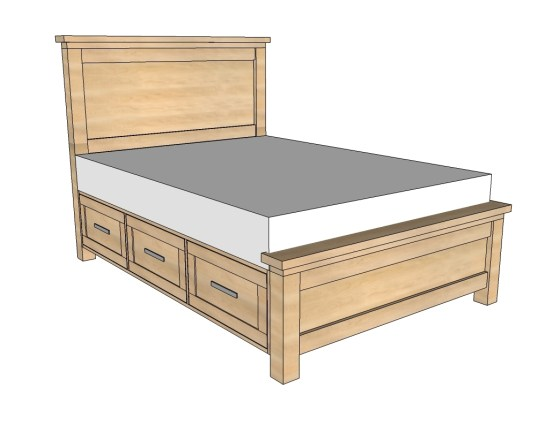 Bed with Storage Drawers Plans