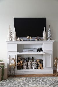 Ana White | Faux Fireplace Mantle with Hidden Storage ...