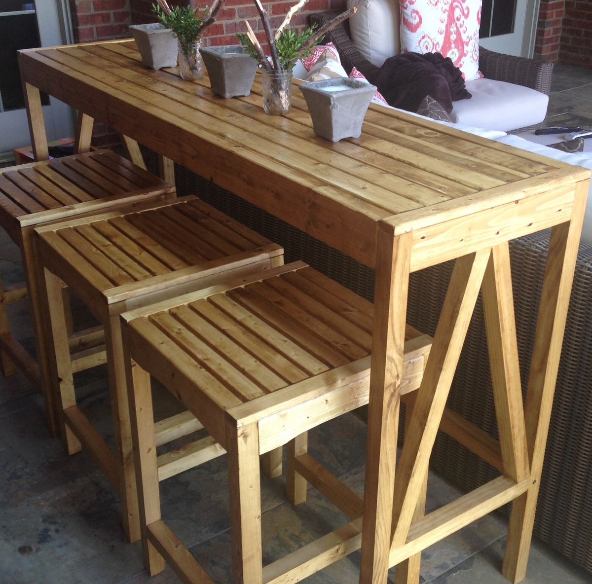 Outdoor Bar Table And Chairs Ana White Sutton Custom Outdoor Bar Stools Diy Projects