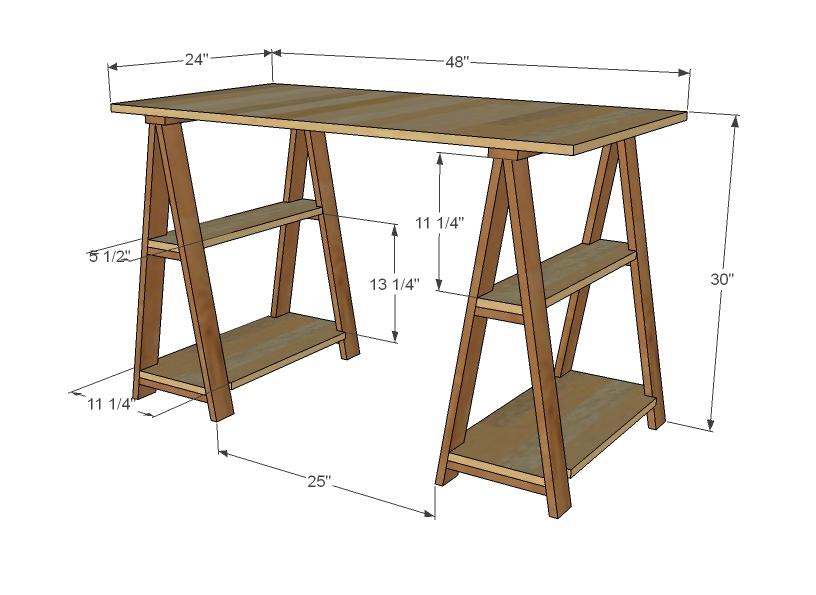 1x3 sawhorse desk ana white