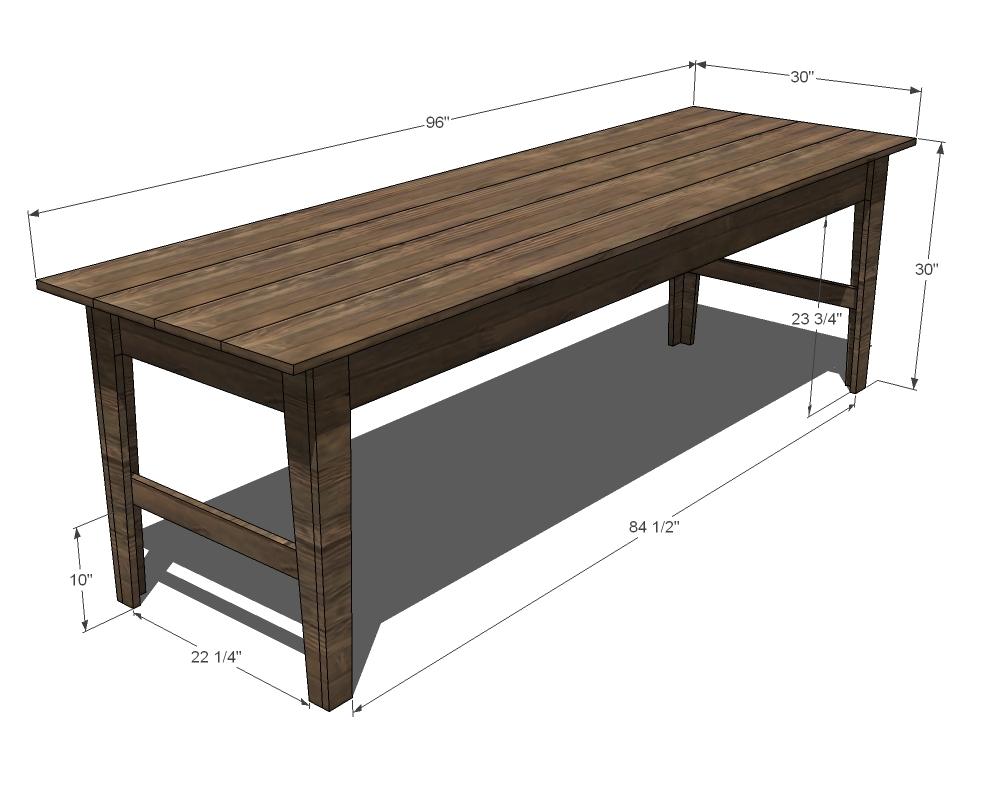 Narrow Farmhouse Table - DIY Projects