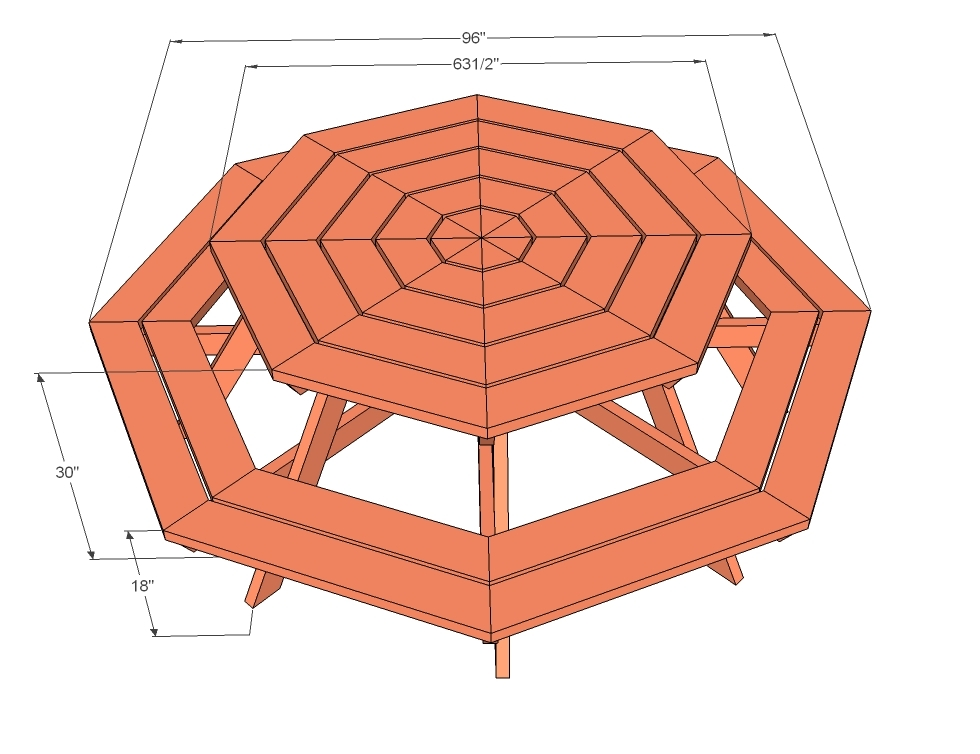 Build Plans Octagon Picnic Table Plan Wooden Outdoor Bench Kits - Hex picnic table