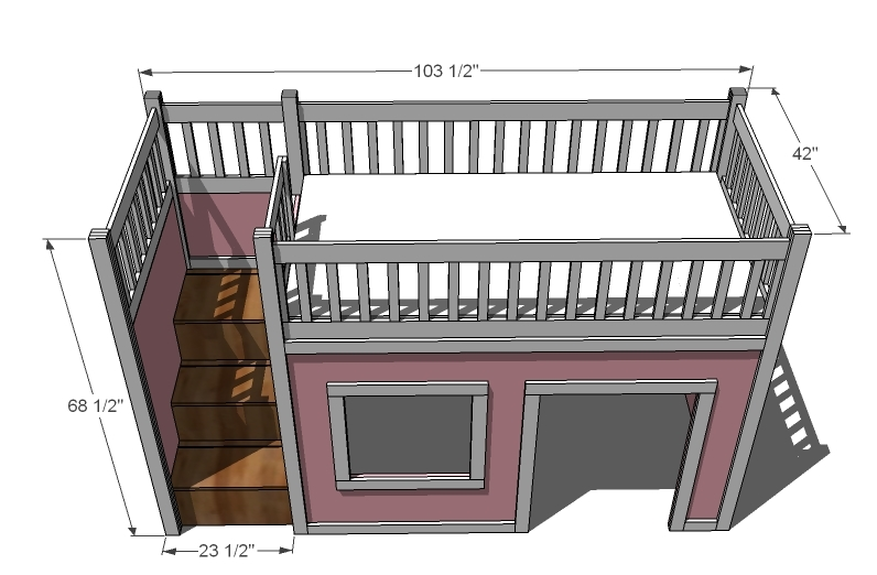 Bed Over Stair Box With Storage And Stairs: Diy Playhouse Loft Bed DIY Blueprint Plans Download Tea