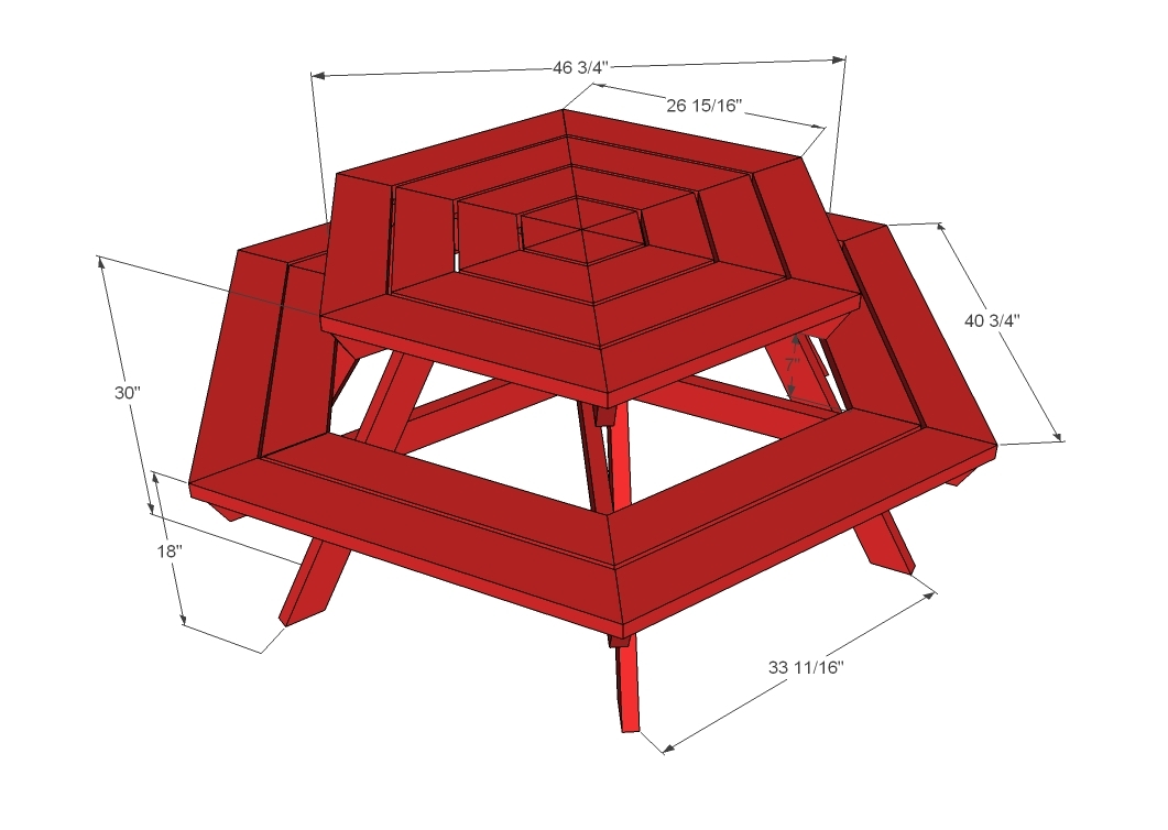 Build DIY How to build a hexagon shaped picnic table PDF ...