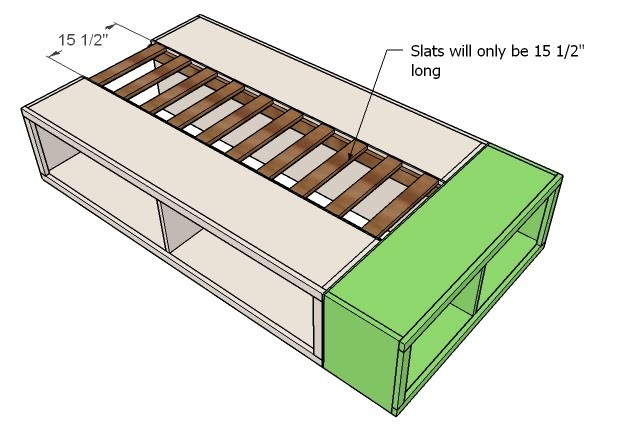 You're slats for the twin bed will only need to be 15 1/2″ long