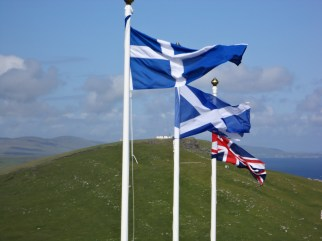 Flags of Shetland, Scotland and the UK.