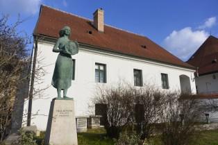 Memorial to writer Benedek Virág