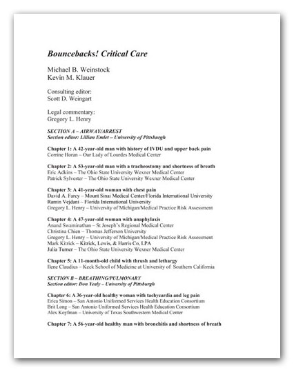 Table of Contents of the Bouncebacks! Critical Care book.