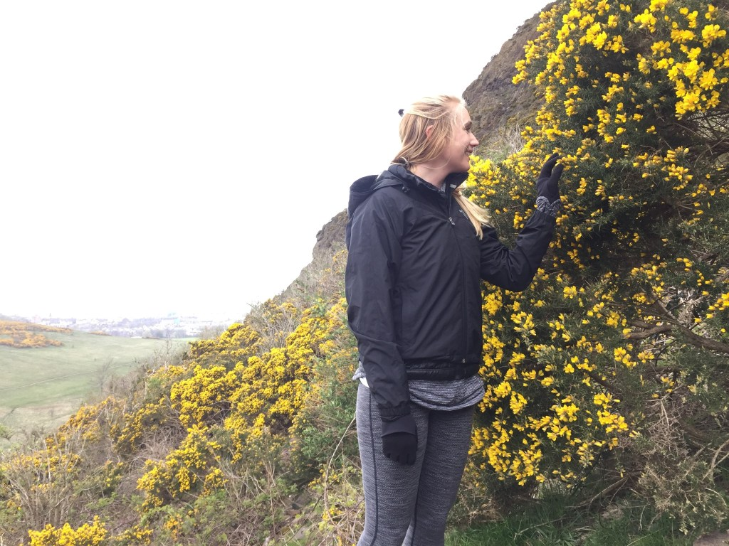 Adrian stopped to check out these pretty yellow flowers she'd seen from afar...