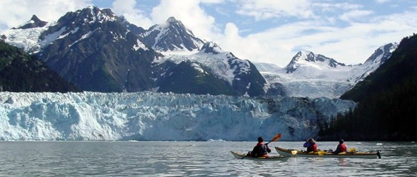 Paddling in front of Meares Glacier