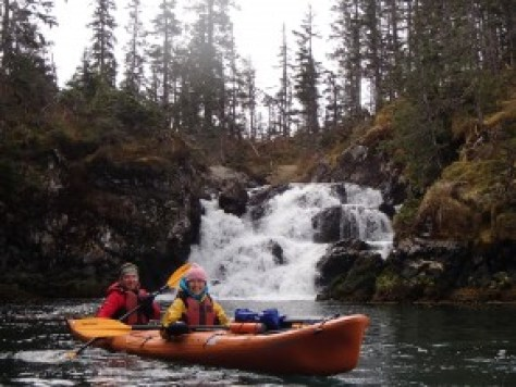 Beautiful waterfall and Sitka Spruce forest