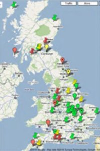 Image shows a UK Map of AD Plants in January 2011