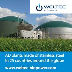 Image shows a Weltec BioPower biogas Ad Banner.