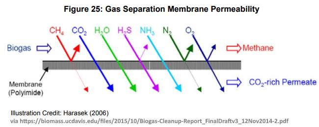 Diagram of a gas separation membrane.