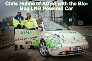 Image shows Chris Huhne with the Bio-Bug biomethane/ LNG powered car.