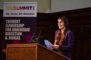 Image shows Charlotte Morton of ADBA at a presentation.
