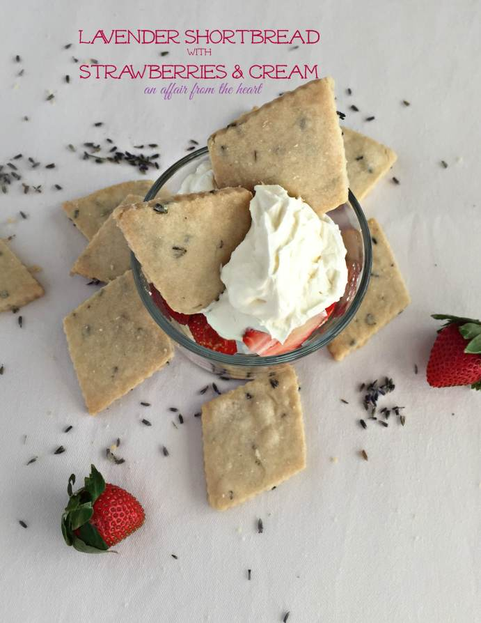 Lavender Shortbread with Strawberries & Cream