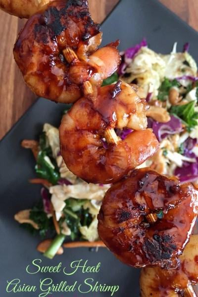Sweet Heat Asian Grilled Shrimp Skewers