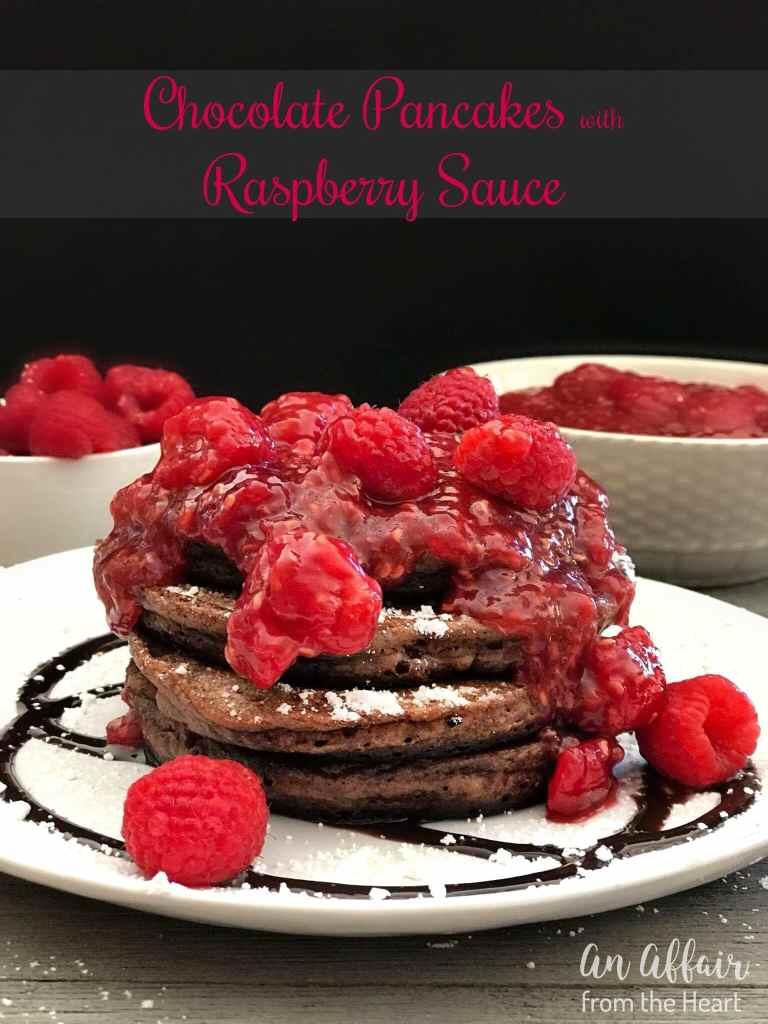 Chocolate Pancakes with Raspberry Sauce