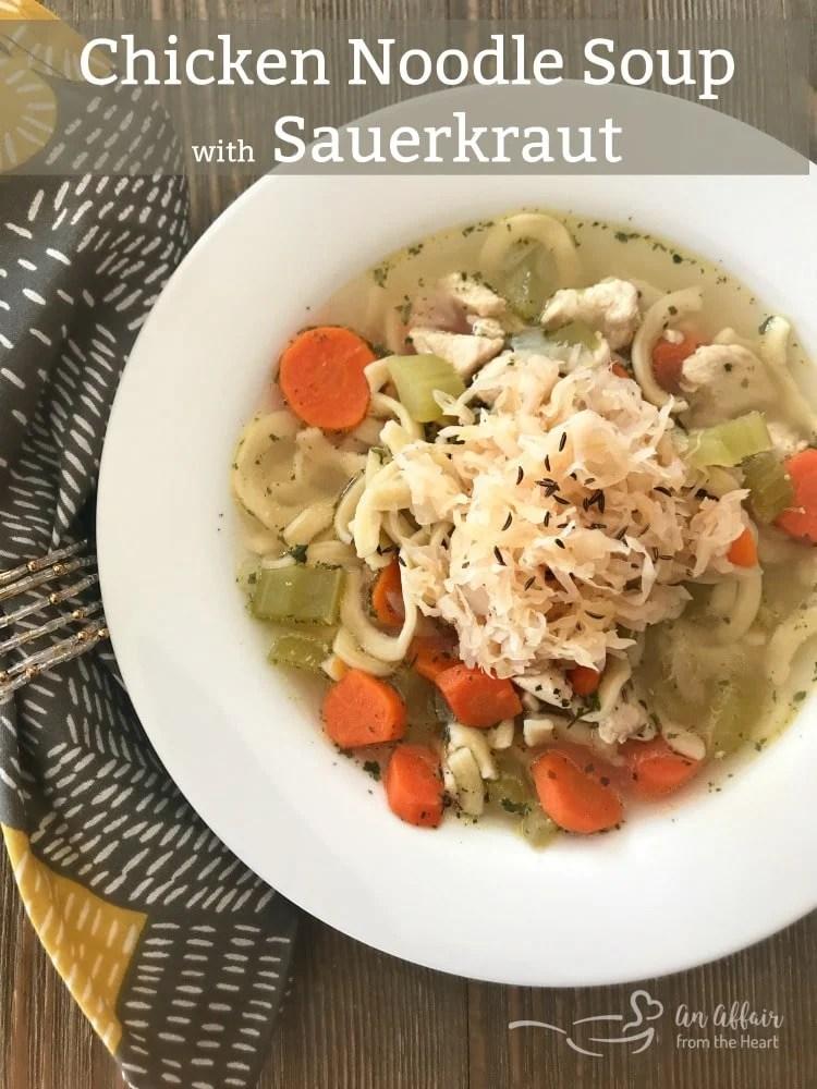 Chicken Noodle Soup with Sauerkraut