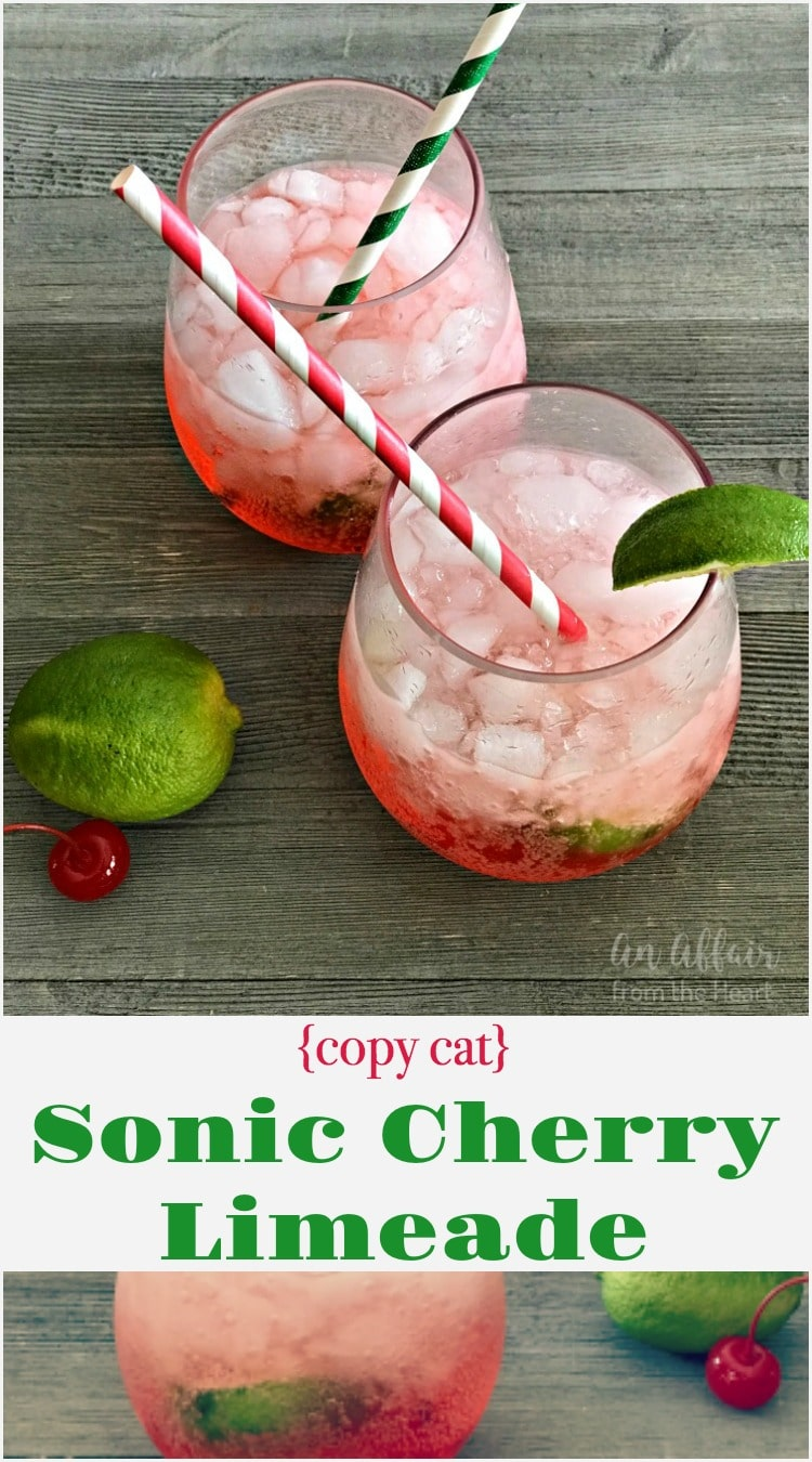 {Copy Cat} Sonic Cherry Limeade - An Affair from the Heart - Skip the drive up and make these famous drinks right at home. In a matter of minutes you'll be sipping on summertime perfection, anytime!