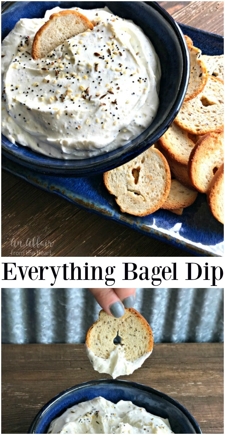 Everything Bagel Dip - An Affair from the Heart --A creamy dip made with everything bagel spice. Serve it with bagel chips! I dare you to try and leave it alone!