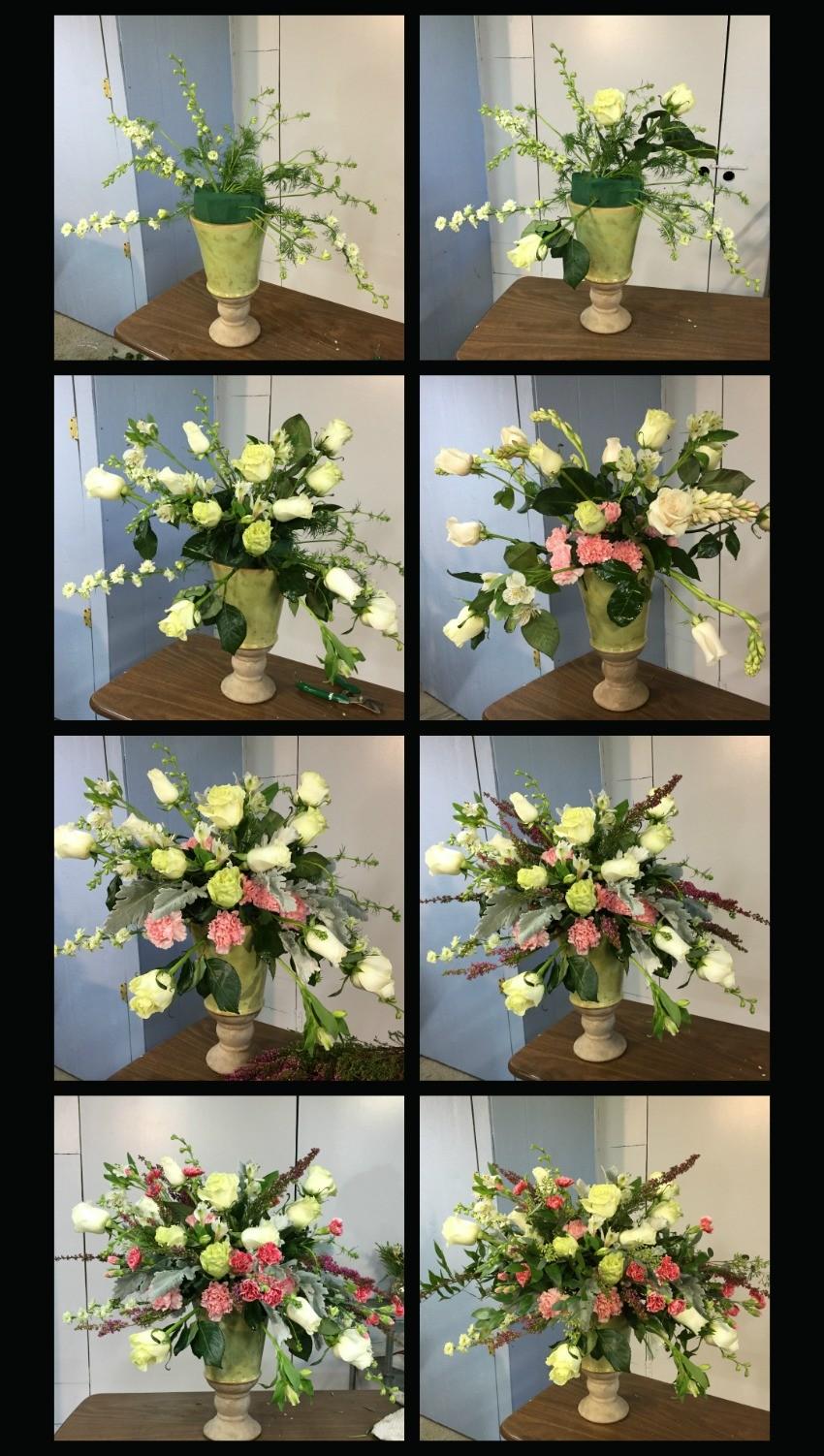 Como hacer un arreglo de flores en urna con soltura y movimiento  Ana Galena