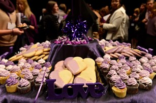 Purple cupcakes and cookies