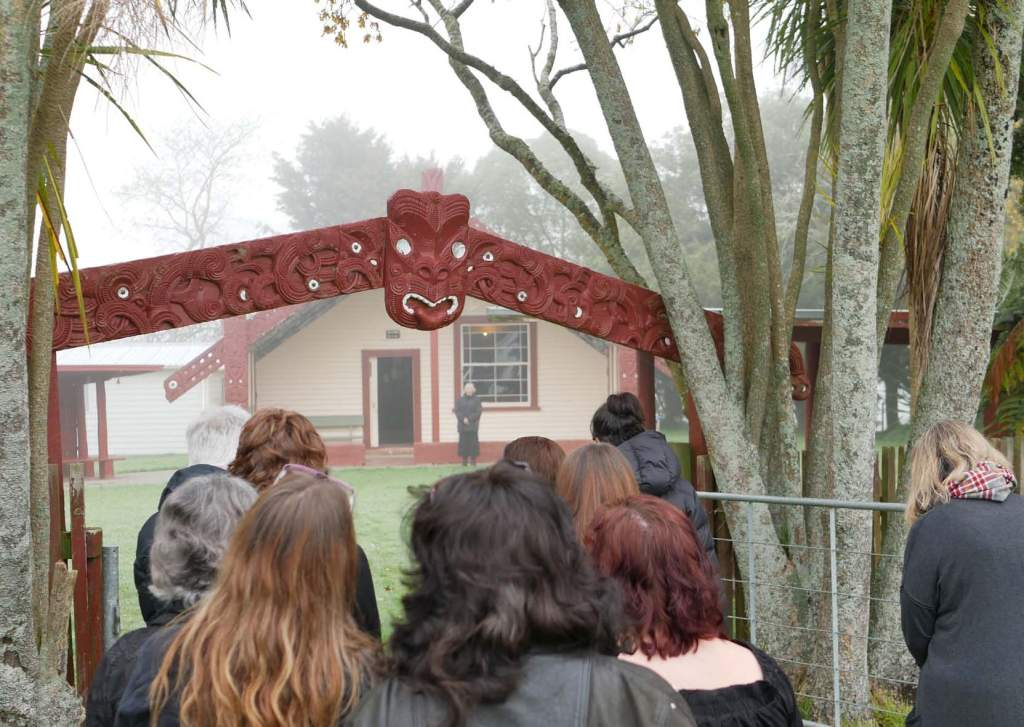 Participants in the integrative nurse coaching workshop are welcomed on to Te Kôpua Marae, on a foggy morning in Te Awamutu.