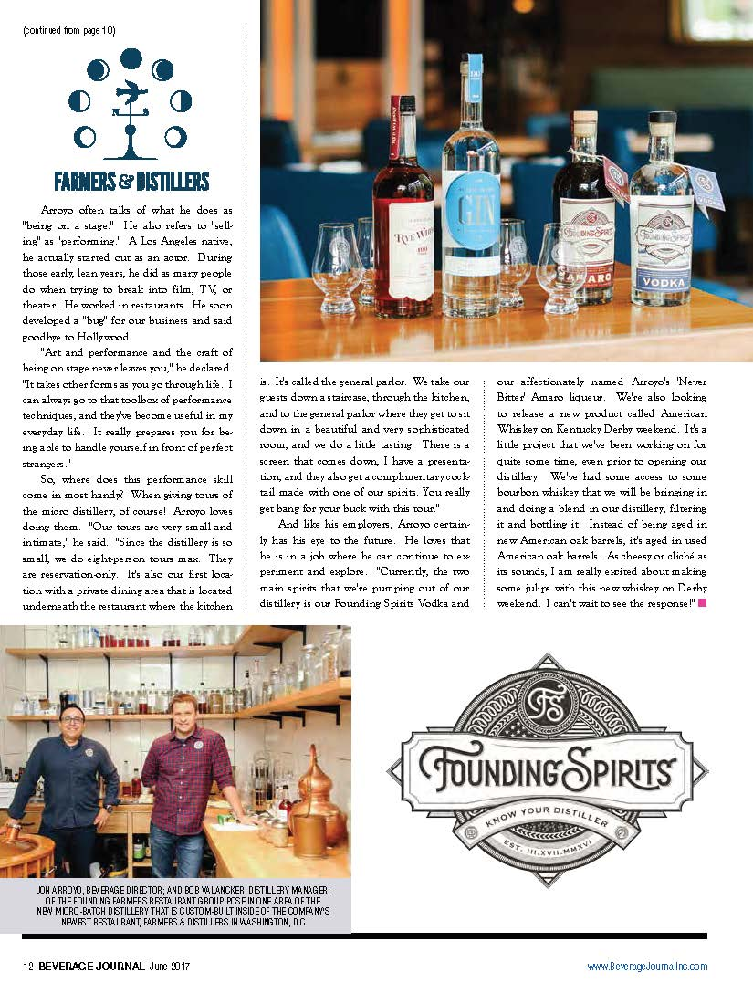 Farmers & Distillers, Founding Spirits featured on the Beverage Journal by Ana Isabel Photography