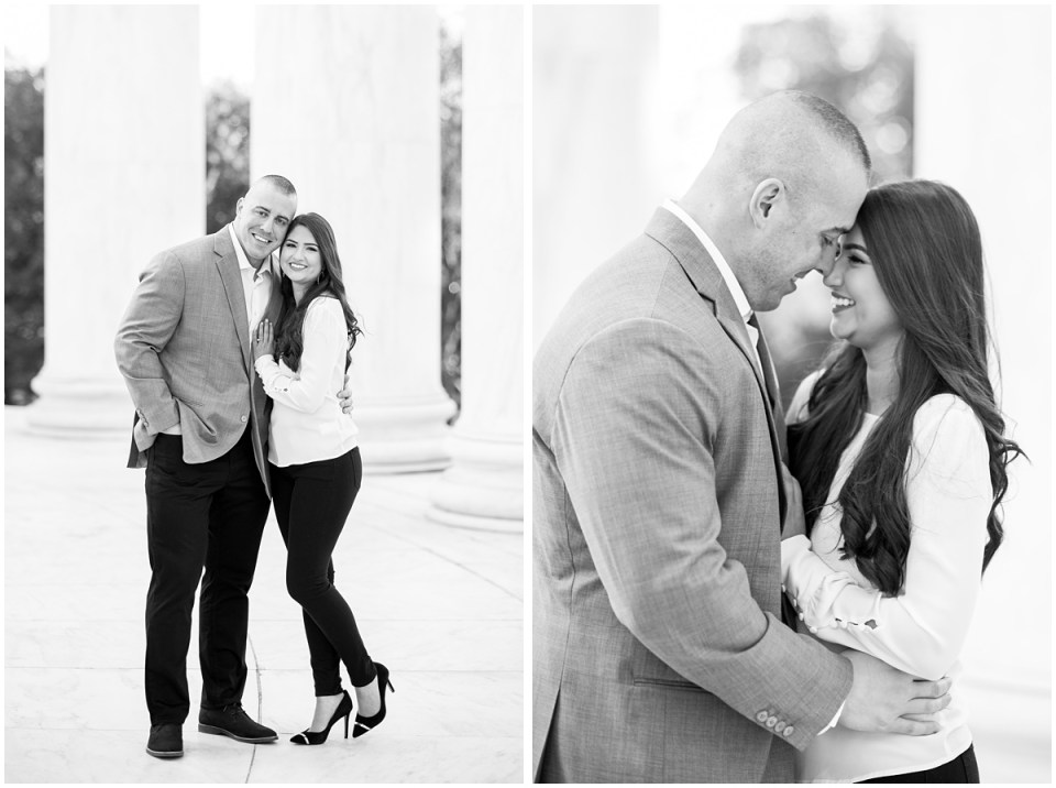 Black and white Washington DC engagement photographer at Jefferson Memorial | Ana Isabel Photography