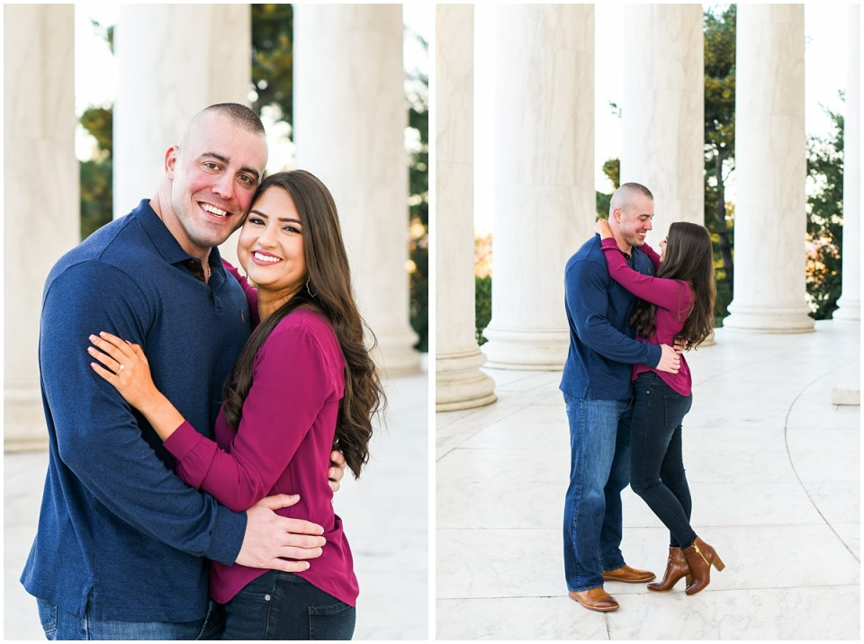 Engagement photos at Jefferson Memorial in Washington, DC | Photo by Ana Isabel Photography