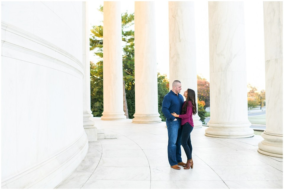 Fall engagement photos at Jefferson Memorial in Washington, DC | Photo by Ana Isabel Photography