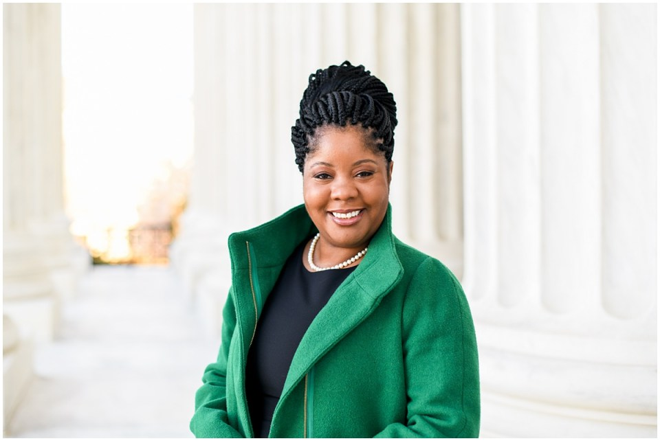 Professional black executive woman photographed by female photographer