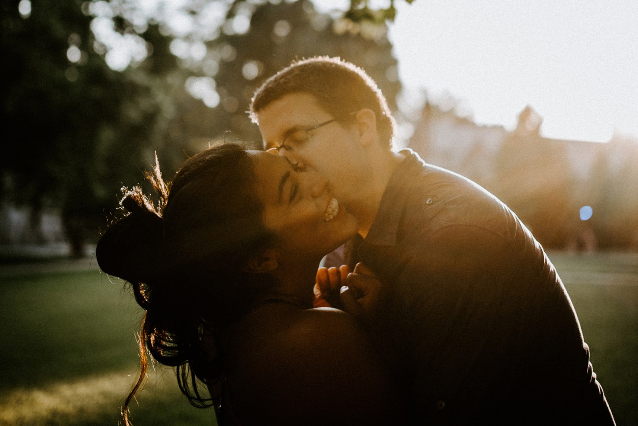 Sunset engagement photos in the center of Princeton University