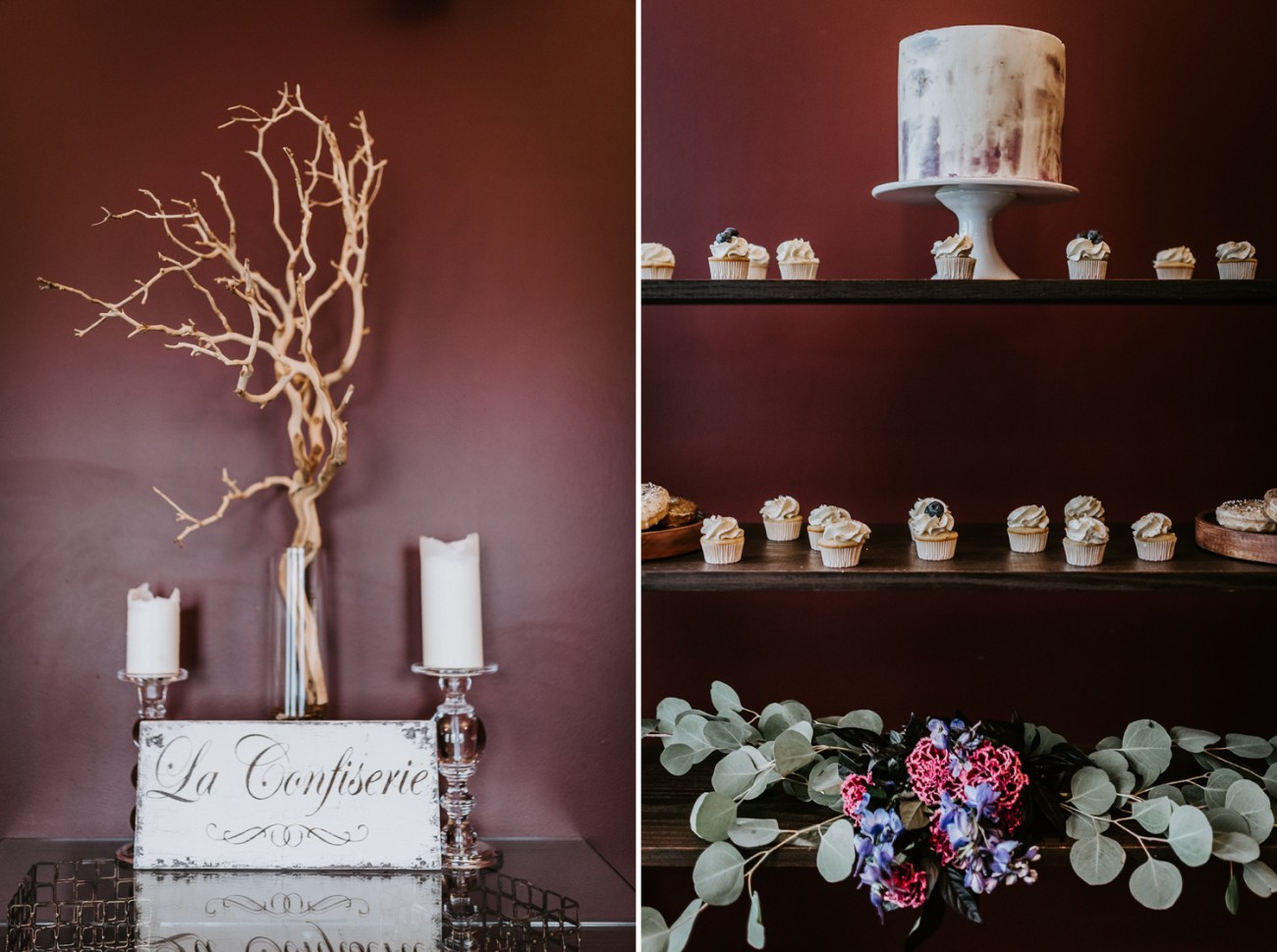Wedding cake and mini wedding desserts