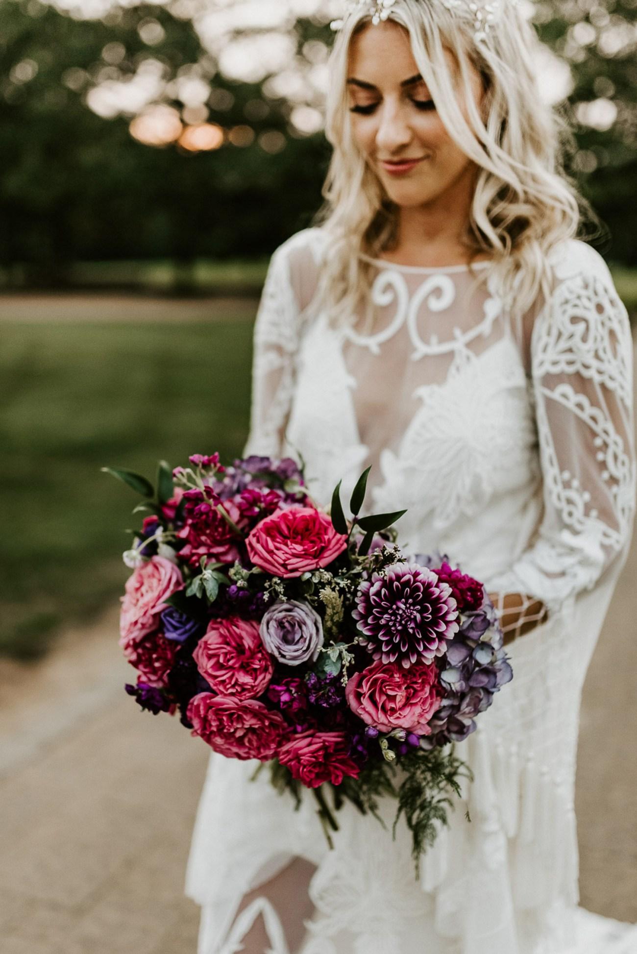 Boho-inspired wedding gown by Rue de Seine