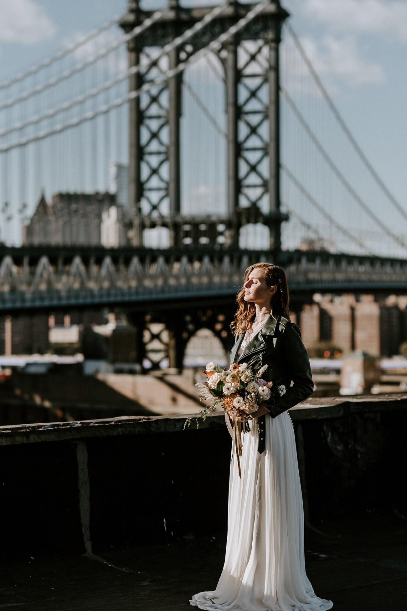 Wedding dress inspiration. Flowy wedding gown inspiration. Boho wedding dress. Brooklyn rooftop elopement. Brooklyn rooftop wedding. Brooklyn wedding photographer. New York City wedding photographer. New York elopement photographer. Anais Possamai Photography