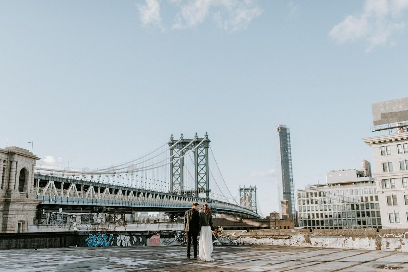 Brooklyn rooftop elopement. Brooklyn rooftop wedding. Brooklyn wedding photographer. New York City wedding photographer. New York elopement photographer. Anais Possamai Photography